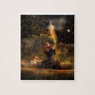 Witch Performs Magic Circle Spells Jigsaw Puzzle