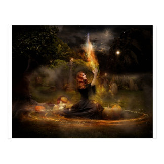 Witch Performs Magic Circle Spells Postcard
