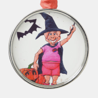 Witch Pig Metal Ornament