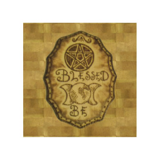 Witch Prim Triple Moon & Pentacle Sign Wood Canvas