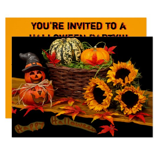 Witch Pumpkin and Sunflowers Card