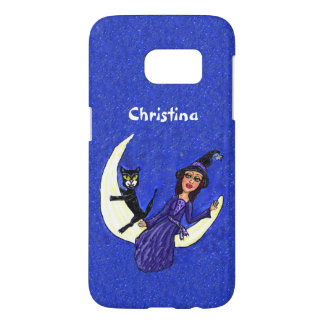 Witch Purple Dress With Black Cat Sitting on Moon Samsung Galaxy S7 Case