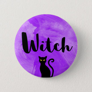 Witch Purple Watercolour Textured Black Cat 2 Inch Round Button