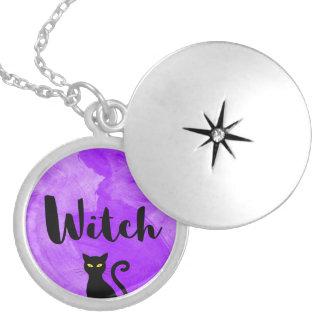 Witch Purple Watercolour Textured Black Cat Locket Necklace