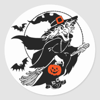 Witch Riding Broom Halloween Stickers