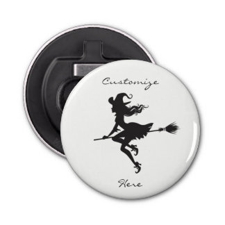 Witch Riding Broom Halloween Thunder_Cove Bottle Opener
