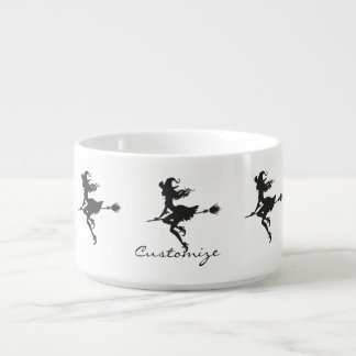 Witch Riding Broom Halloween Thunder_Cove Bowl