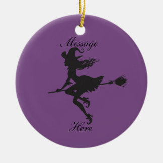 Witch Riding Broom Halloween Thunder_Cove Ceramic Ornament