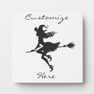 Witch Riding Broom Halloween Thunder_Cove Plaque