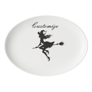 Witch Riding Broom Halloween Thunder_Cove Porcelain Serving Platter