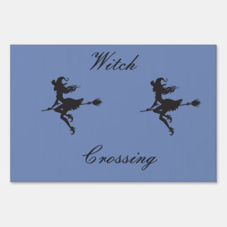 Witch Riding Broom Halloween Thunder_Cove Sign