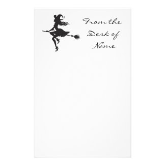 Witch Riding Broom Halloween Thunder_Cove Stationery
