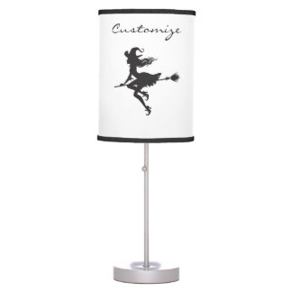 Witch Riding Broom Halloween Thunder_Cove Table Lamp