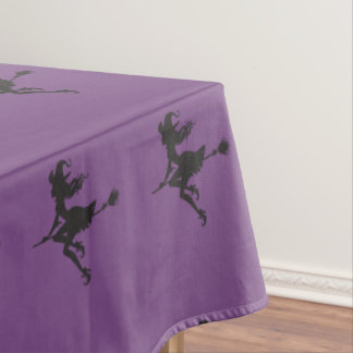 Witch Riding Broom Halloween Thunder_Cove Tablecloth