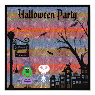 Witch & Skeleton Spooky Town Halloween Party Card