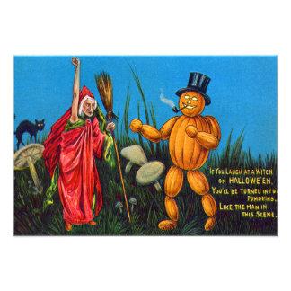 Witch Spell Jack O' Lantern Pumpkin Black Cat Photo Art