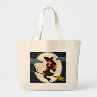 witch witchcraft broomstick broom large tote bag