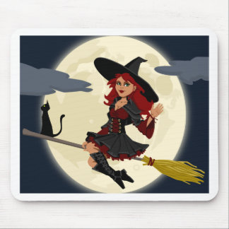 witch witchcraft broomstick broom mouse pad