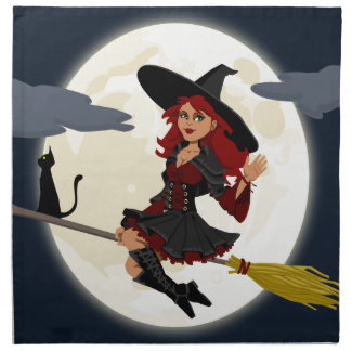 witch witchcraft broomstick broom napkin