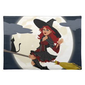witch witchcraft broomstick broom placemat