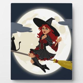 witch witchcraft broomstick broom plaque