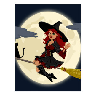 witch witchcraft broomstick broom postcard