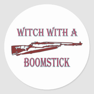 Witch with a boomstick 2 round sticker