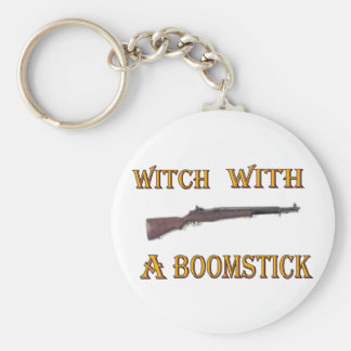 Witch with a boomstick basic round button keychain