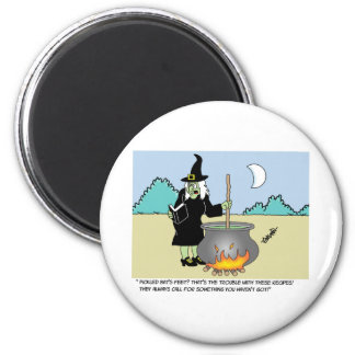 Witch With A Recipe Book 2 Inch Round Magnet