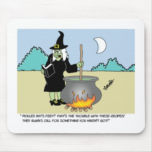 Witch With A Recipe Book Mouse Pads
