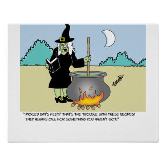 Witch With A Recipe Book Poster