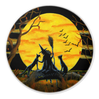 Witch with black cats knobs