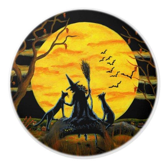 Witch with black cats knobs ceramic knob