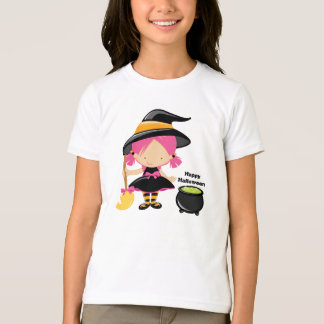Witch with kettle happy halloween girl's t-shirt