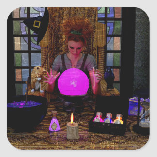 Witch with Magic Crystal Ball and Potions Stickers