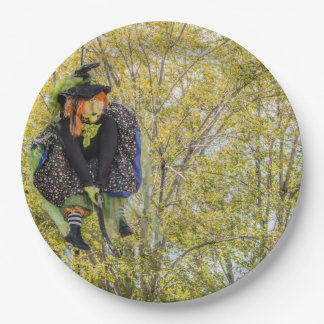 Witch With Orange Hair Flying High on Broomstick Paper Plate