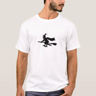 Witch with the broom flies T-Shirt