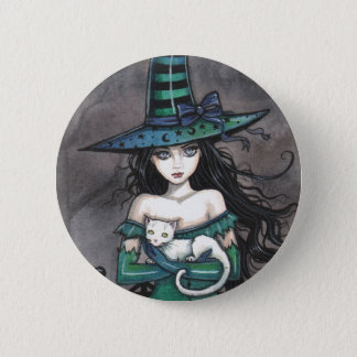 Witch with White Cat Pinback Button