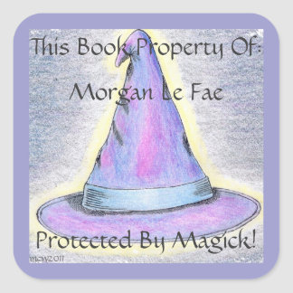 Witch Wizard Hat Bookplate Lavendar Border (Lg.) Square Sticker