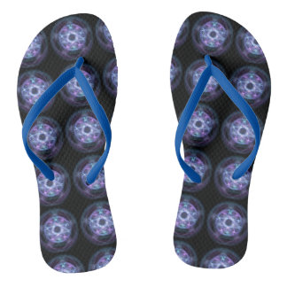 Witchcraft Blue Fire Pentagram Pattern Flip Flops