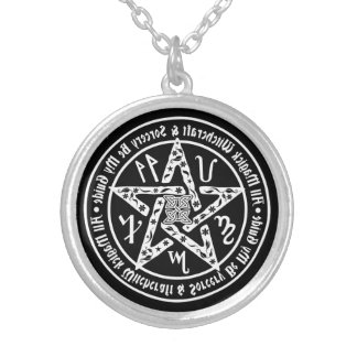 Witchcraft Mirror Writing Occult Pentacle Round Pendant Necklace