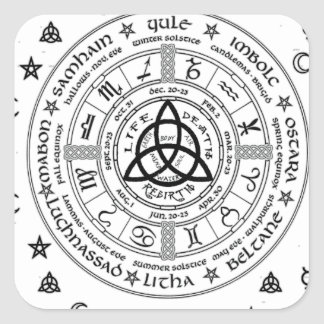 Witchcraft symbols square sticker