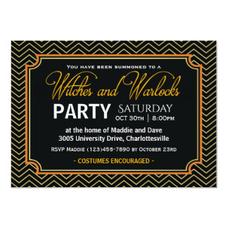 Witches and Warlocks Halloween Party Card