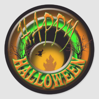 Witches castle Halloween greeting Classic Round Sticker