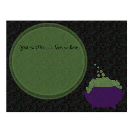 witches cauldron recipe card postcard