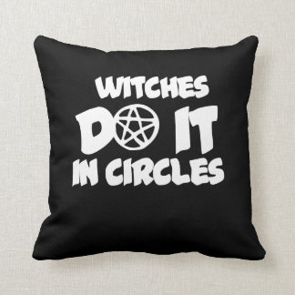 Witches do it in circles throw pillow