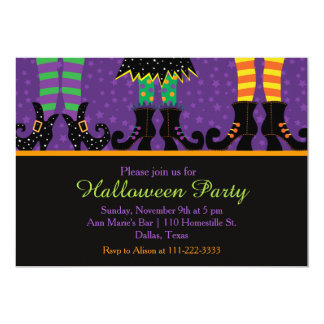 Witches Feet Halloween Party Card