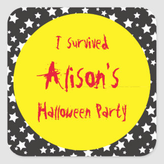 Witches Feet Halloween Party 'I Survived' Square Sticker