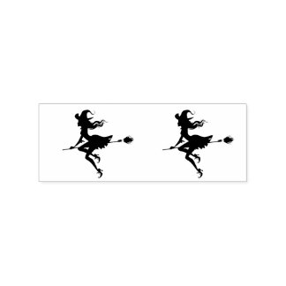 Witches Riding a broom Halloween Thunder_Cove Rubber Stamp