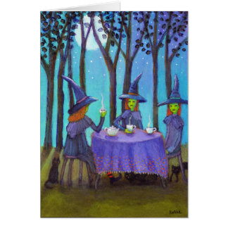 Witches' Tea Time Under the Moon Note Card